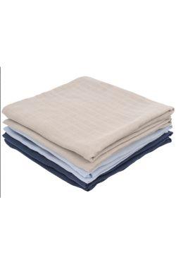 Комплект муслиновых пеленок для новорожденных Jollein, navy/light blue/ light grey