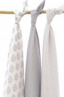 Комплект муслиновых пеленок для новорожденных Jollein, Owl grey