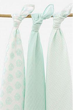 Комплект муслиновых пеленок для новорожденных Jollein, Owl mint