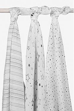 Комплект муслиновых пеленок для новорожденных Jollein, Stardust grey (звездная пыль-серые)
