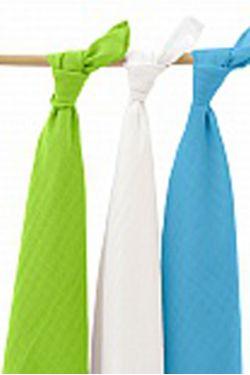 Комплект муслиновых пеленок для новорожденных Jollein, lime/aqua/white
