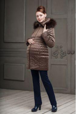 Зимняя куртка для беременных Вивиан коричневая