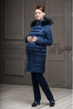 Зимнее пальто для беременных Одри синее