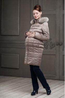 Зимнее пальто для беременных Одри темно-бежевое