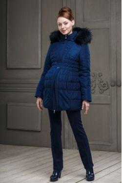 Зимнее пальто для беременных Клерис синий