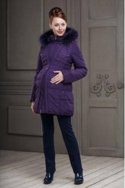 Зимнее пальто для беременных Клерис фиолетовое