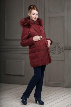 Зимнее пальто для беременных Клерис винный