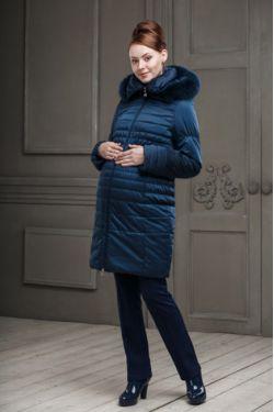 Зимнее пальто для беременных Валери синее