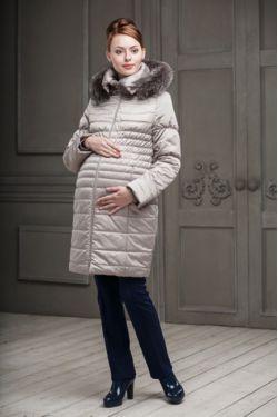 Зимнее пальто для беременных Валери светло-бежевое
