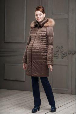 Зимнее пальто для беременных Валери коричневое