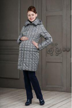 Зимнее пальто для беременных Валери ментоловый принт цветочный