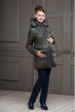Демисезонное пальто для беременных Шарлотта зеленое