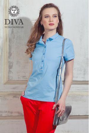 Футболка Diva Nursingwear Polo, цвет Celeste