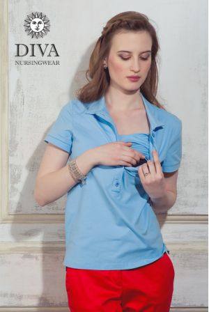 Футболка для кормления Diva Nursingwear Polo, цвет Celeste