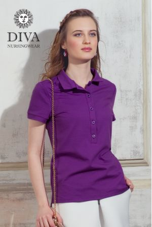 Футболка для беременных  Diva Nursingwear Polo, цвет Viola