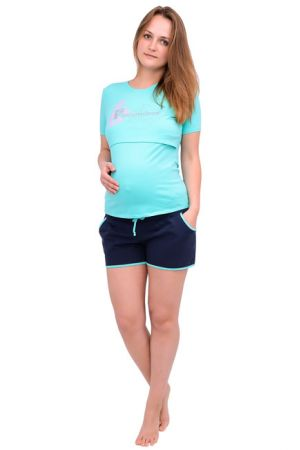 Спортивные шорты для беременных Л051 т.синий с изумрудным